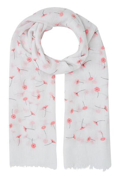 Foulard imprimé de fleurs - Blanc