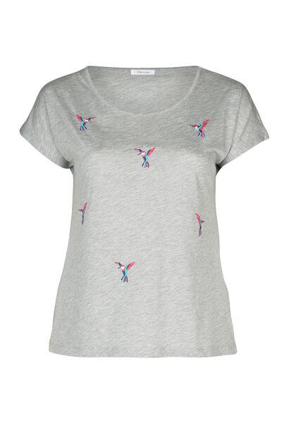 T-shirt brodé d'oiseaux - Gris Chine