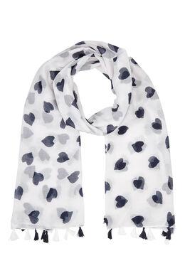 Foulard imprimé coeurs bicolores, Blanc