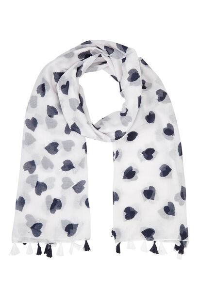 Sjaal met tweekleurige hartjesprint - Wit