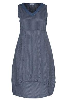 Lange jurk in gestreept linnen, Marineblauw