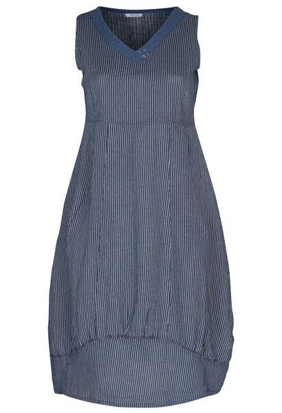 Lange jurk in gestreept linnen - Marineblauw