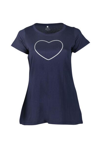 Long t-shirt imprimé cœur à paillettes - Marine