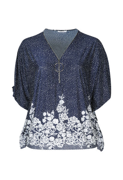 T-shirt poncho maille froide avec zip - Marine
