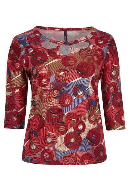 T-shirt van warm tricot met cirkels & lijnen - Bordeaux