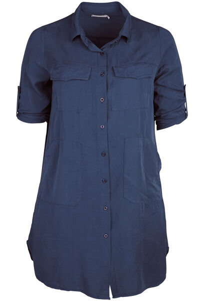 Robe chemise en lyocell - Marine