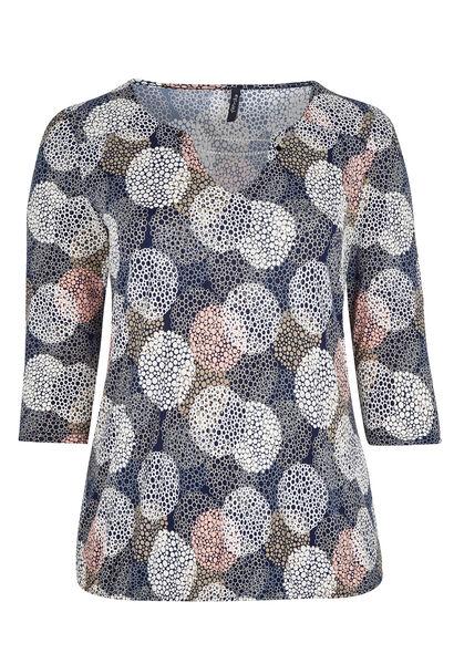 Bedrukt T-shirt van soepel tricot - Marineblauw