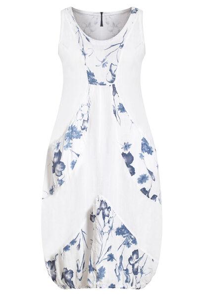 Lange jurk in bedrukt linnen - Wit
