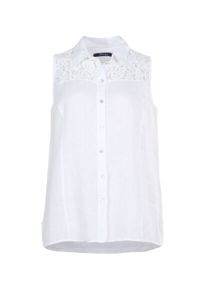 Top 100% lin - Blanc