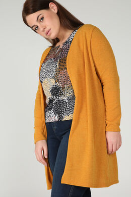 Lange cardigan in warm tricot, Oker