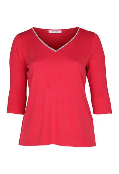 T-shirt met juweelkraag - Rood