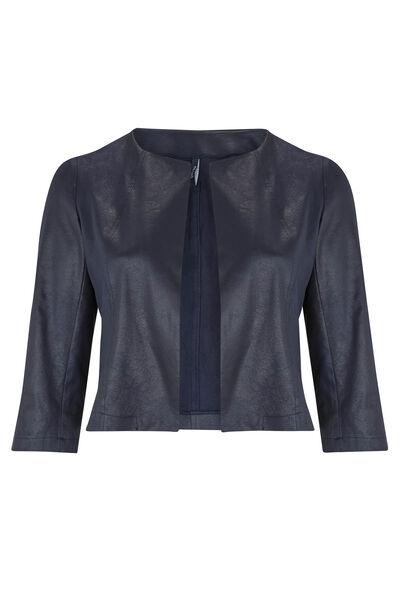 Veste courte en faux cuir sauvage - Marine
