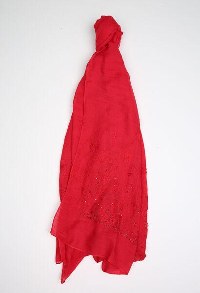 Foulard brodé et mini clous - Rouge
