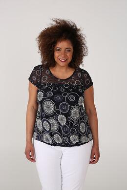 T-shirt van kant met cirkelprint., Marineblauw