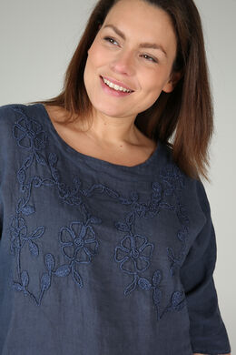 Bloes in linnen met borduurwerk, Marineblauw