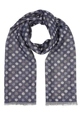 Sjaal met bolletjesprint, Marineblauw