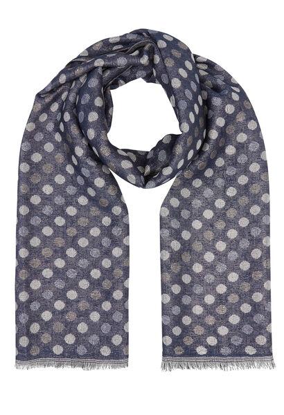 Sjaal met bolletjesprint - Marineblauw