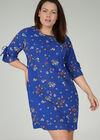 Robe imprimée fleurie, Bleu Bic