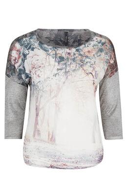 T-shirt met fotoprint en gevlamd tricot, Pruim