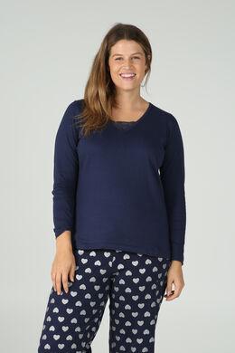 Lang T-shirt met kant, Marineblauw