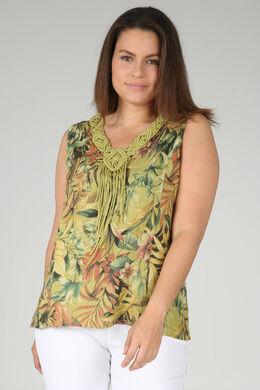 Blouse sans manches en lin imprimé fleuri, Vert Olive