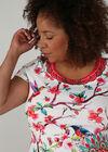 T-shirt met bloemen en vogels, Multicolor