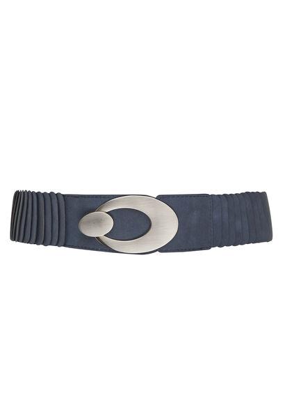 Brede riem met grote gesp - Marineblauw