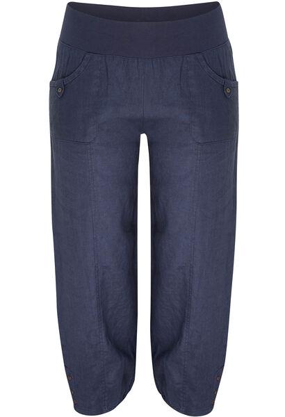 7/8-broek van linnen - Marineblauw
