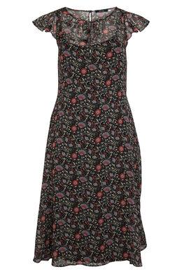 Longue robe en voile imprimé fleuri, Bordeaux