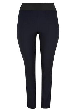 Geklede stretchbroek, elastische taille, Marineblauw