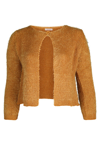 Cardigan court maille poilue - Ocre