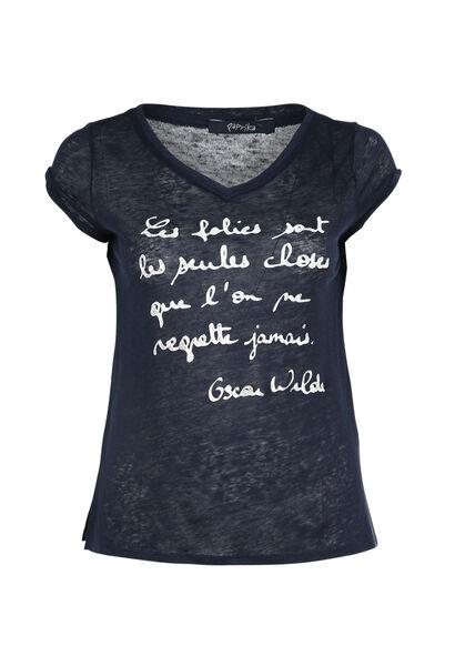 T-shirt met een boodschap - Marineblauw