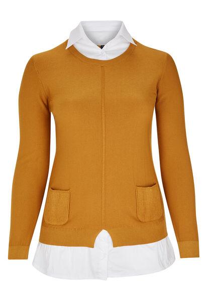2-in-1 trui-blouse - Oker