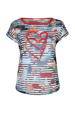 T-shirt in gestreept linnentricot, Multicolor