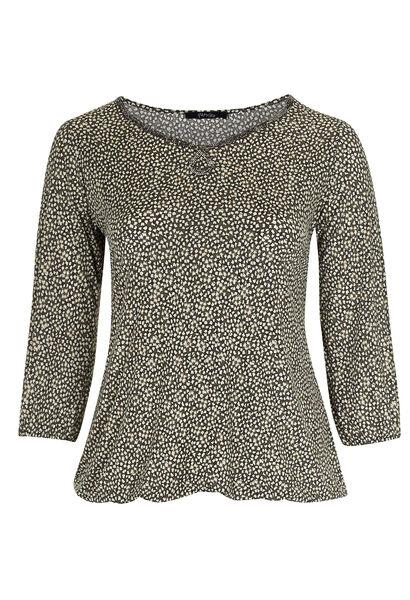 T-shirt in koel tricot met folieprint - Taupe