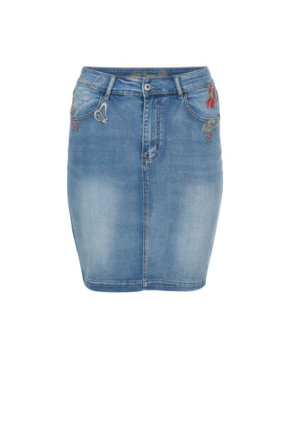 Jupe droite en jeans broderie - Denim
