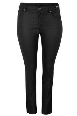 Pantalon 5 poches enduit coupe slim, Noir