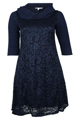 Jurk in tricot., Marineblauw