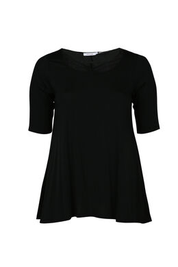 T-shirt en maille viscose encolure croisée, Noir