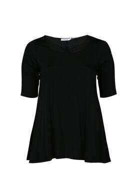 T-shirt van viscosetricot, met gekruiste hals, Zwart
