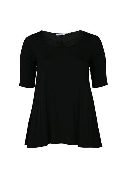 T-shirt van viscosetricot, met gekruiste hals - Zwart