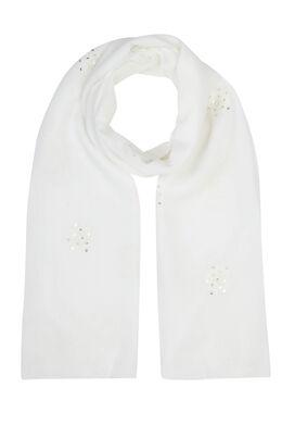Foulard brodé de fleurs et sequins, Blanc