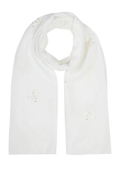 Foulard brodé de fleurs et sequins - Blanc