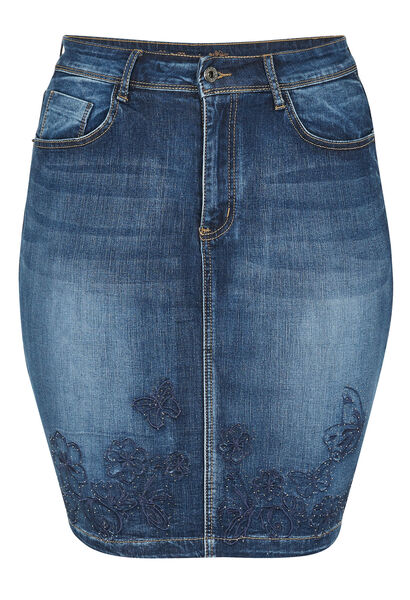 Jupe jeans broderies de fleurs et strass - Denim