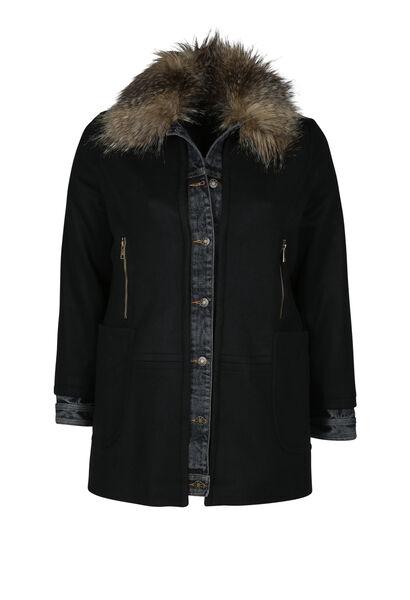 Mantel in wollen stof - Zwart