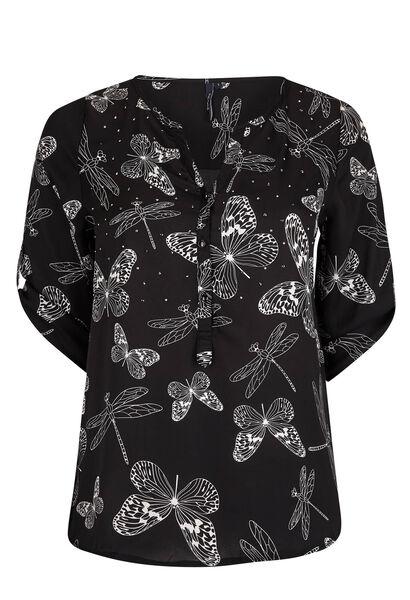 Zomers shirt, vlinders en libellen - Zwart