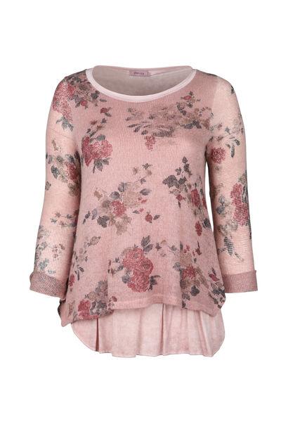 Gevoerde trui met bloemenprint - Roze