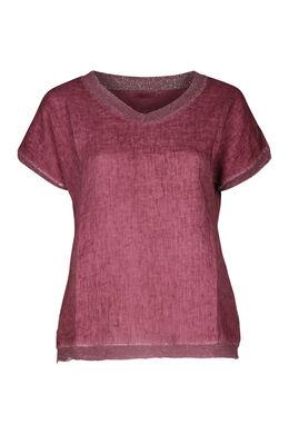 T-shirt devant lin dos en maille, Vieux rose