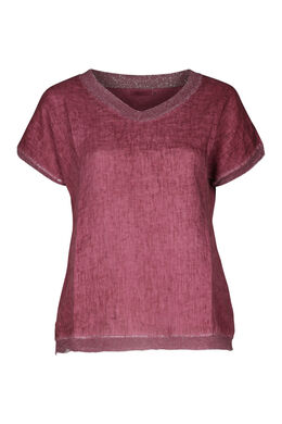 T-shirt linnen vooraan tricot achteraan, Oudroze