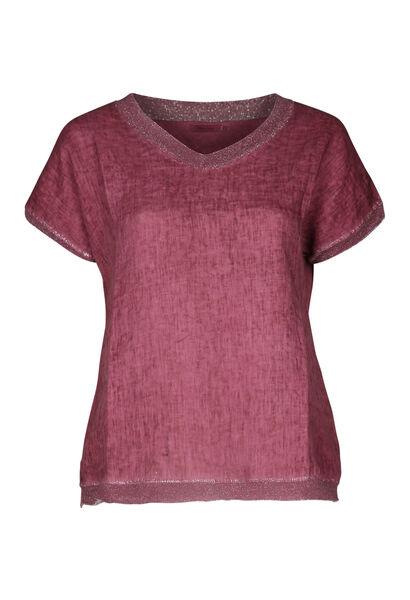 T-shirt linnen vooraan tricot achteraan - Oudroze